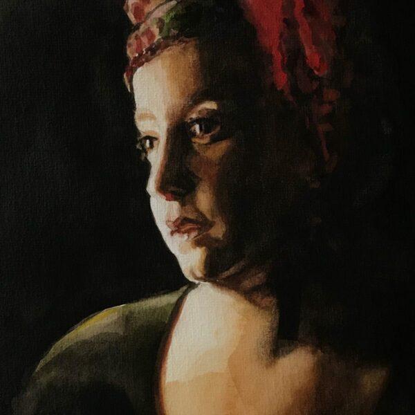 Mattie van der Veen, Girl with Turkish Fez, 2020, watercolour, 32 x 21 cm