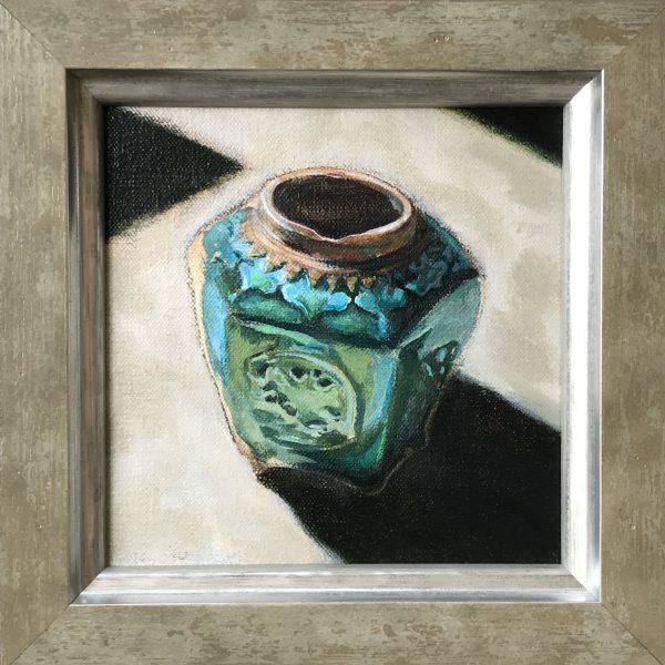 Mattie van der Veen, Ginger jar, 2020, acrylics on linen, 14 x 14 cm