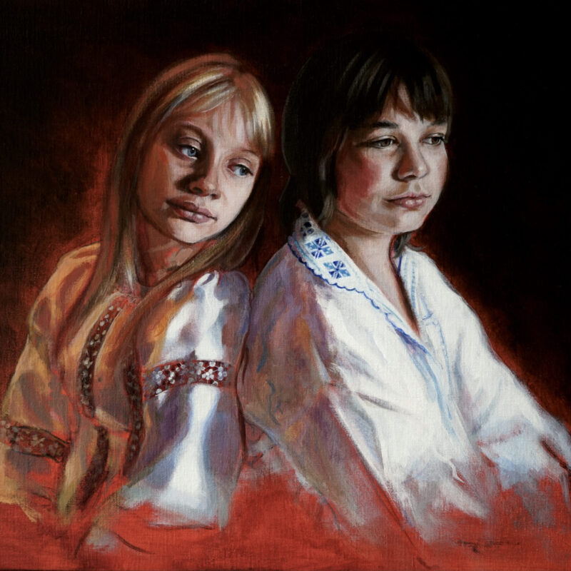 Double portrait brother and sister, 2021, acrylics on canvas, 55 x 65 cm