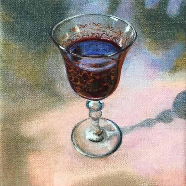 Mattie van der Veen, Cheers to life, 2021, acrylics on canvas, 15 x 15 cm