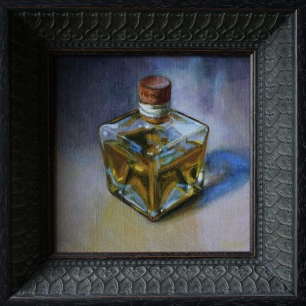Mattie van der Veen, 'Bottle of olive oil', 2021, acrylics on canvas, 14 x 14 cm